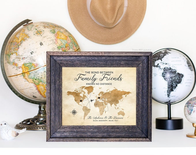 Featured listing image: Family Friends Map, Moving Gifts, Long Distance Family, World Map, Choose Locations, Friendship Quote, Foreign Exchange | WF388