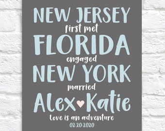 Personalized Typography Art, Choose Any 3 State Names, Couples Names, Wedding Gift, Met, Engaged, Married Wedding Sign, Modern Fun WF280
