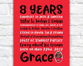 Birthday Sign for Children, Kids Personalized Bday Gift to Cherish Forever, Daughter, Granddaughter, 8 Year Old, Turning 8, 8th Bday WF712