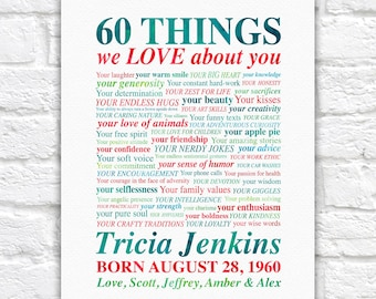 Mom 60th Birthday Gift, Personalized Poster with 60 Things and Reasons We Love You, Her 60 Year Birthday Party Gift, Grandma Birthday Gifts
