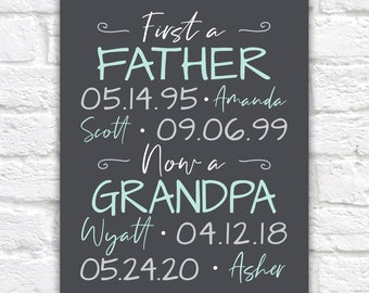 New Grandpa Gift, Pregnancy Announcement, New Grandfather Sign, First Fathers Day Gift as Grandpa, Papa, Fathers Day Gift for Daddy
