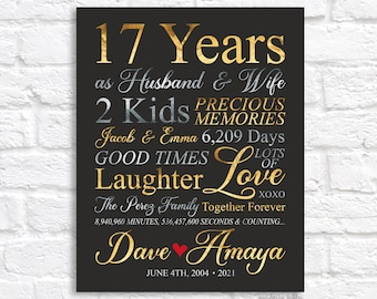 17th Anniversary, Gift for Wife Married 17 Years, Seventeenth Wedding Anniversary, Together 17 Years, 17th Anniversary Gift for Husband 2021