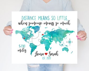 Personalized Long Distance Friendship Gift, Goodbye Gift for Long Distance Friend Moving Away Map WF302