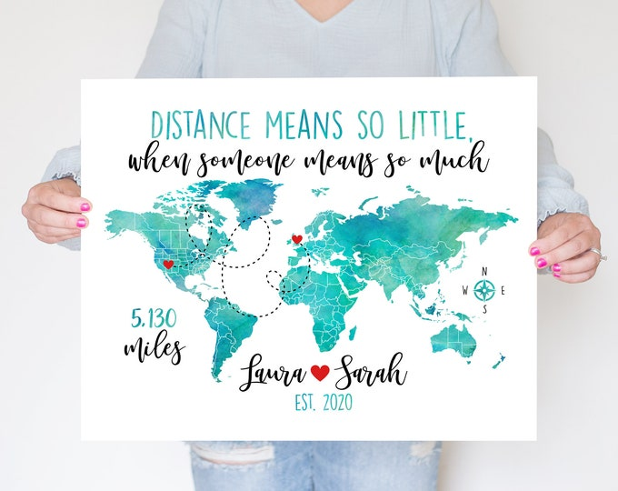 Featured listing image: Personalized Long Distance Friendship Gift, Goodbye Gift for Long Distance Friend Moving Away Map WF302