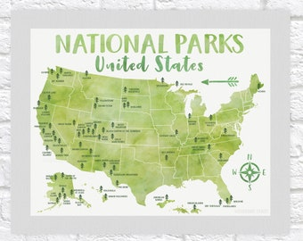 National Park Poster, All United States National Parks on Green Map, Adventure Travel, Yosemite, Yellowstone, Kids Art, Forest Room USA