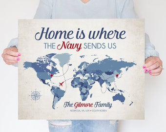 Navy Map for Deployment, Home is Where the NAVY sends us, Personalized World Map for Moving Military Family, Red Stars, Blue Map Gift