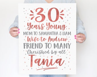 30th Birthday Sign, Decoration for Turning 30 Party, Rose Gold Gray Party Theme, 30 Years Young, Poster for Women Wife Name 1990 WF719