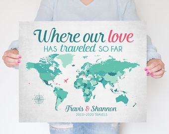 Where our Love Has Traveled Map, Personalized Anniversary Gift for Wife, Girlfriend, 10th Anniversary Gift, 10 Years of Traveling, World Map