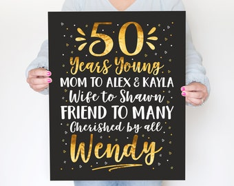 50th Birthday Party Decoration Sign, 50th Birthday Poster for Women Men, Birthday Board with Childrens Names, Gift for Wife WF716