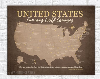 United States Famous Golf Courses Map, Gift for Golfer, Golf Decor, Golf Art for Home or Office, Golf Courses in USA, Golfing Quotes WF688