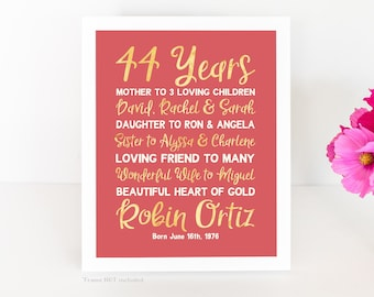 Bday Present, Customized Date - Choose ANY YEAR, Wife Gift, Wives Bday, 44th Birthday, 44 years, Born 1970s, Summer Birthday Party WF710