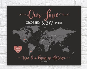 Long Distance Relationship Map, Couple Love Map Custom Designed Gift, Life Adventure World Map, International Lovers, Rose Gold Tone WF714
