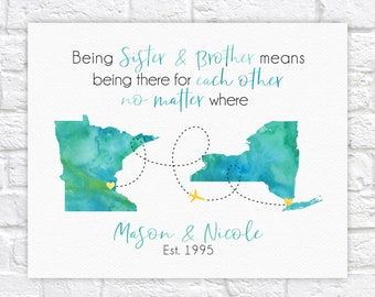 Long Distance Siblings Map, Gift for Brother or Sister, National Sibling Day, Gift for Older or Younger Brother, Sister, Twin, Step WF721