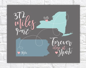 Miles Apart Multi State Map Print, Long Distance Gift for Friend, Personalized Map, Distance in Miles, Forever close at Heart, Friendship