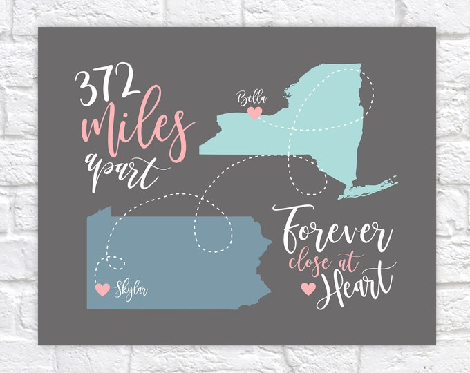 Featured listing image: Long Distance Friendship Map Art, Personalized with Mileage between Locations, Gift for Friend Moving, BFF Birthday Gifts, Going Away WF423