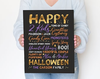 Halloween Art, Personalized Family Names Sign for Halloween Decor, October 31st, Boo, Pumpkins, Cute Halloween, Orange, Purple, Black, Gold