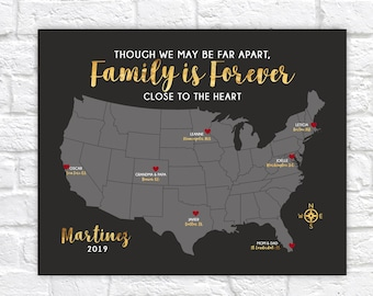 Personalized Family Map, Choose Locations, Names, Christmas Gifts for Family Members, Relatives, Living Apart for Holidays Quote Sign WF698