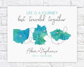 Wedding Gift, Life is a Journey Maps, Wedding and Honeymoon Locations, Gift for Bridal Shower, Bride and Groom Travel Theme Poster WF720