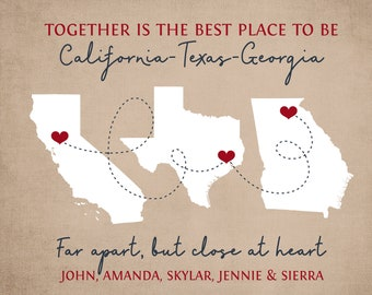Christmas Gift for Family, Long Distance Gifts, Map Art, Personalized Present for Xmas, Grandparents, Grandpa Grandma Canvas WF703