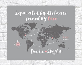 Long Distance Relationship Gift for Girlfriend, Romantic Gift, Separated by Distance, Joined by Love Quote, Custom Quote Print WF300