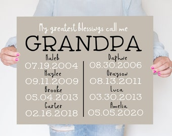Gift for Grandpa, Gift Ideas for Dad, Fathers Day Gift for Dad from Daughter, Grandkids Names, Personalized Grandpa Sign, Birthday Dad Papa