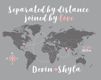Long Distance Relationship Gift for Girlfriend, Romantic Gift, Separated by Distance, Joined by Love Social Distancing Gift World Map WF300