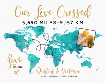 Long Distance Relationship Miles Away Gift, First Anniversary, for Boyfriend, Deployment, Husband, Fiance, Girlfriend, Custom Canvas Art