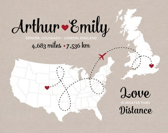 Long Distance Relationship Map Gift, Two Personalized Maps with Miles and KM, Wedding Gift, Engagement Gift, Anniversary Gift for Him or Her