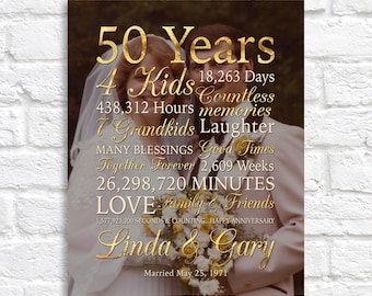 50th Anniversary Gift for Parents, 50 Years Wedding Anniversary, Gold Personalized Art Print or Canvas Sign, Vintage Wedding Photo Parents