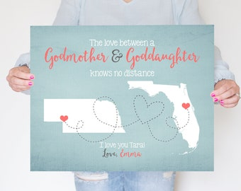 Godmother, Goddaughter, Godson Gift Long Distance Friend, Gift for Best Friend Godmother, Aunt, Niece, Daughter, Son, Moving Gift | WF122