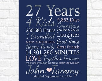 27th Anniversary Gift, Choose ANY Years Married or Together, 27 Years Marriage Gift for Parents, Gift for Mom and Dad Anniversary Canvas Art
