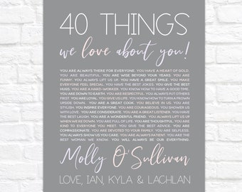 40th Birthday Gift for Wife, 40 Things We Love About You, Gift for Wife from Kids and Husband, Woman Turning 40, 40 Year Old Gifts for Her