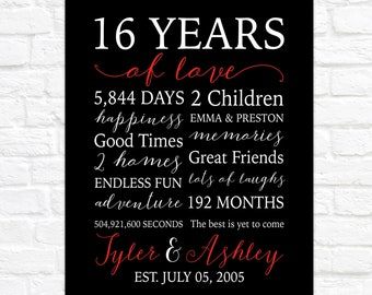 16 Years of Love, Personalized 16th Anniversary Art, Married in 2005, Art for Living Room Celebrating Love Anniversary