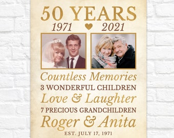 Then and Now Photo Art for 50th Anniversary, Personalized 50 Year Anniversary Gift for Parents, Grandparents, Gold Anniversary Sign Present