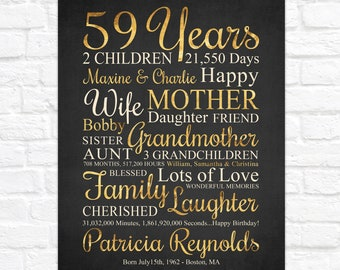 59th Birthday Gift, Personalized ANY Year Bday Art, Custom with Kids and Grandkids Names, Golden Birthday, Born 1962, Womens 59th Bday