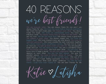 40th Birthday Gift for Best Friend, 40 Reasons We're Best Friends, Personalized BFF Birthday Present, Reasons Why We're Friends Art