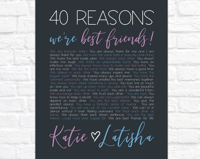 Featured listing image: 40th Birthday Gift for Best Friend, 40 Reasons We're Best Friends, Personalized BFF Birthday Present, Reasons Why We're Friends Art