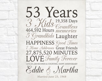 53rd Anniversary Gift, 53 Years Married or Any Year, Gift for Grandma and Grandpa, Grandparents Anniversary, Parents, Farmhouse Gray