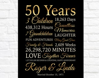 50th Anniversary Gifts for Parents, Black and Gold 50th Anniversary Poster Sign, 1971 Party Decoration, Wedding Marriage Anniversary Art