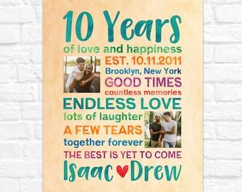 LGBTQ Anniversary Gift, Personalized Gay Anniversary Gifts, Custom Art for 10th Anniversary, Gay Couple Wedding Anniversary Gift, Lesbian