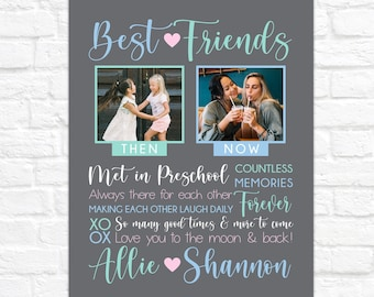Then and Now Gift for Best Friend, Personalized Birthday Gift for BFF, Photos of Friends Through Years, Custom Best Friend Art Canvas Sign