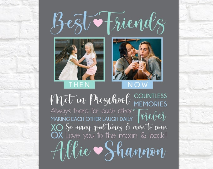 Featured listing image: Then and Now Gift for Best Friend, Personalized Birthday Gift for BFF, Photos of Friends Through Years, Custom Best Friend Art Canvas Sign