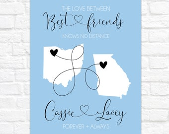 Friend Moving Away Gift, Personalized Artwork for Best Friend, Long Distance Friendship Gift, Miss You Best Friend, BFF Birthday