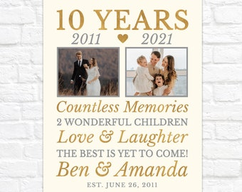 10th Anniversary Gift for Husband or Wife, Then and Now Photos - Personalized 10 Year Wedding Anniversary Gift - Any Year Anniversary Poster