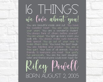16th Birthday Gift for Girl, Daughters 16th Birthday Poster, 16 Things We Love About You, Gift for 16 Year Old, Sweet Sixteenth Bday