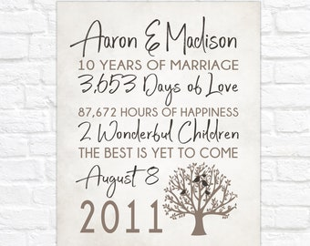 Anniversary Tree Gift, Personalized Anniversary Sign, Gift for Wife, Husband on 10th Anniversary, 10 years of Marriage Gifts Custom