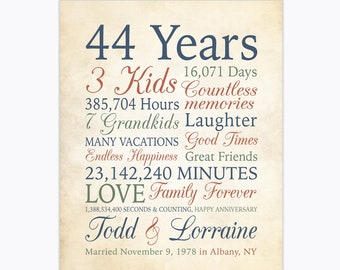 44th Anniversary Gift, Personalized Art for Parents Wedding Anniversary, 44 Years of Marriage, Customizable Anniversary Sign, Marriage Year