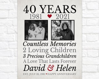 40th Anniversary, Gift for Parents, Then and Now Photos, Sentimental Anniversary Gift for Mom and Dad, Married 40 Years, Forty Years of Love