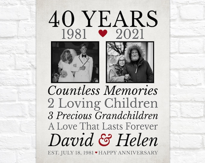 Featured listing image: 40th Anniversary, Gift for Parents, Then and Now Photos, Sentimental Anniversary Gift for Mom and Dad, Married 40 Years, Forty Years of Love