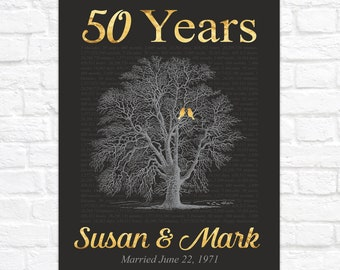 50 Year Anniversary Tree for Parents, Gift for 50th Anniversary, Gold Anniversary, Birds in Tree, Golden and Black Anniversary Sign